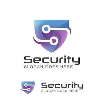 盾のシンボルと創造的な文字sセキュリティ技術システムのモダンなロゴ