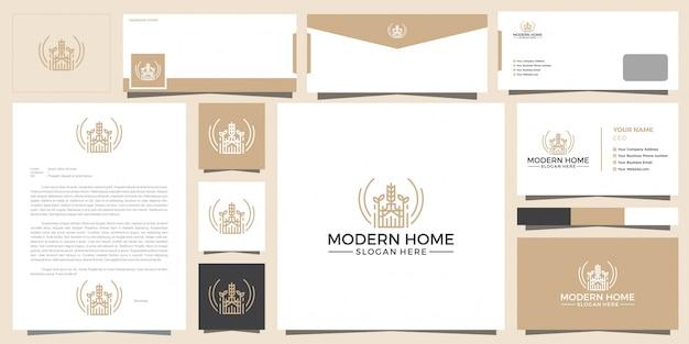 Современный логотип дома для строительства, дома, недвижимости, здания, собственности. минимальный потрясающий модный профессиональный шаблон дизайна логотипа и дизайн визитной карточки.