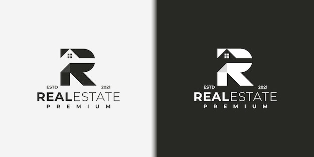 Modern logo for real estate with letter r concept