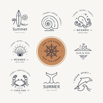 Modern logo set of undersea life