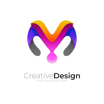 Modern logo with letter m design, colorful icon
