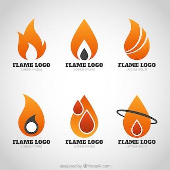Modern logos of flames