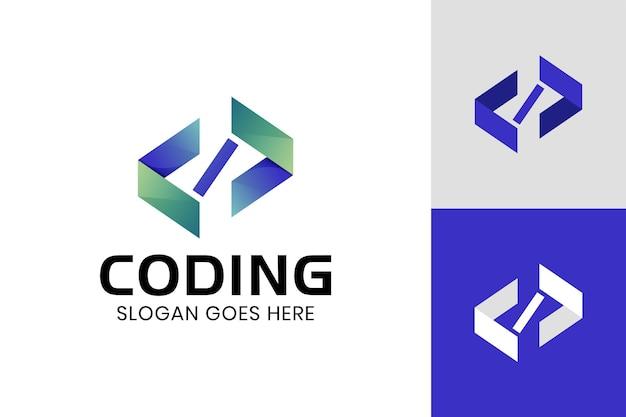 コーディング、プログラミンググラデーションロゴテンプレートのコードのモダンなロゴ
