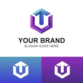 Современные логотипы буквицы ту с шестигранником и верхним символом стрелки.
