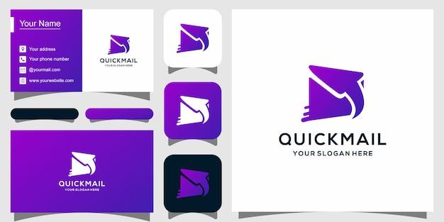 Современный шаблон логотипа для быстрой почты и визитная карточка
