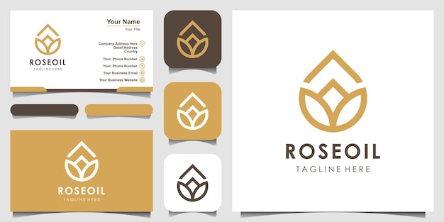 Modern lotus sign line art combined with essential oil drops looks minimalist and clean