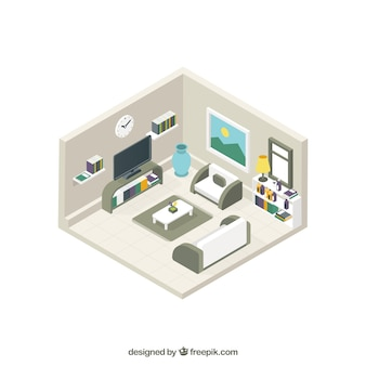 Modern lounge interior in isometric style