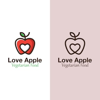 Modern love apple, favorite fruit logo