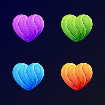 Modern love logo template on blue