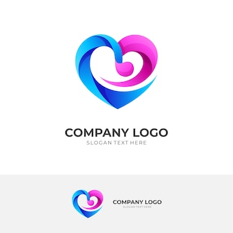 Modern love and music logo design vector with 3d blue and pink color style
