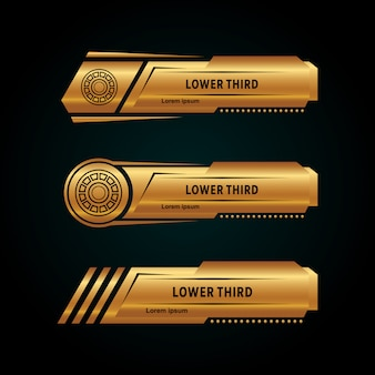 Modern lower third collection gold color