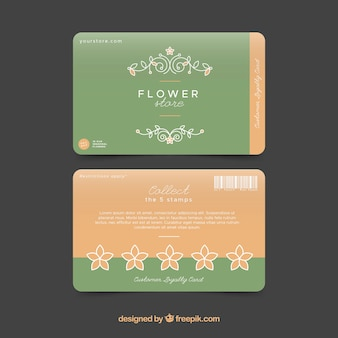 Modern loyalty card template with floral style