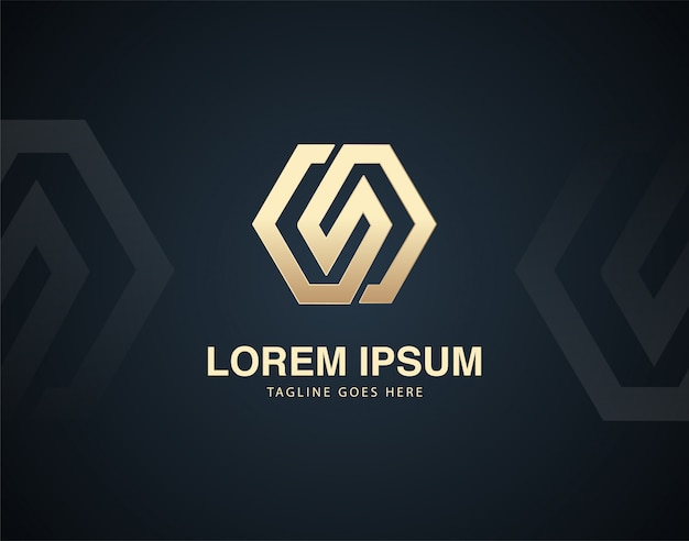 Modern and luxury abstract design logo template with gold color effects