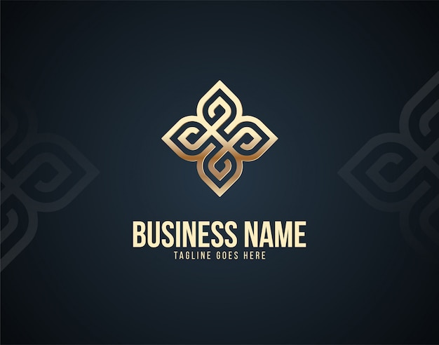 Modern and luxury abstract ornament design logo template with gold color effects