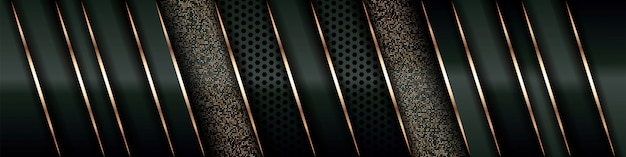 Современный роскошный фон перекрывает слой на темно-зеленом и теневом черном пространстве с абстрактным стилем линии украшения золотого элемента