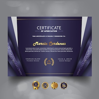 Modern luxury certificate of achievement template