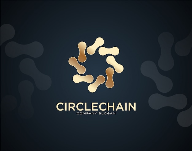 Modern and luxury circle chain design logo template with gold color effects