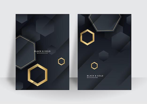 Современная роскошная золотая черная обложка дизайн фона