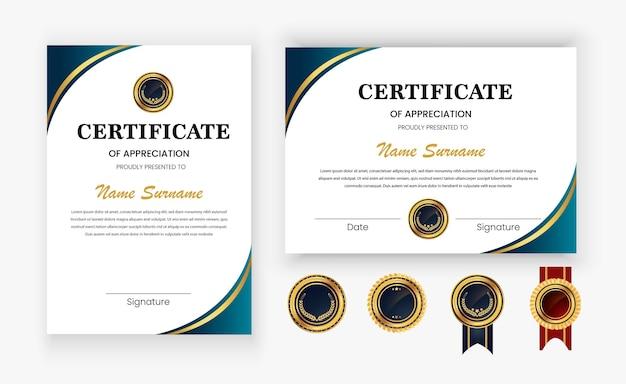 Modern luxury gold diploma certificate template design