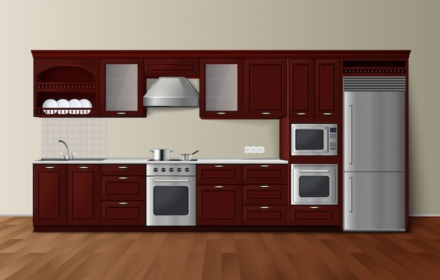 Modern luxury kitchen dark brown cabinets with built-in microwave oven realistic side view image vec