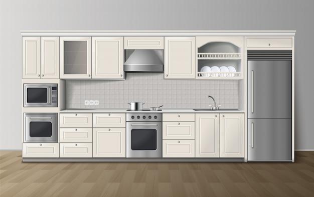 Современная роскошная белая кухонная мебель со встроенной плитой и холодильником.