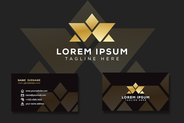 Modern luxury letter w and a logo, triangle star logo with business card