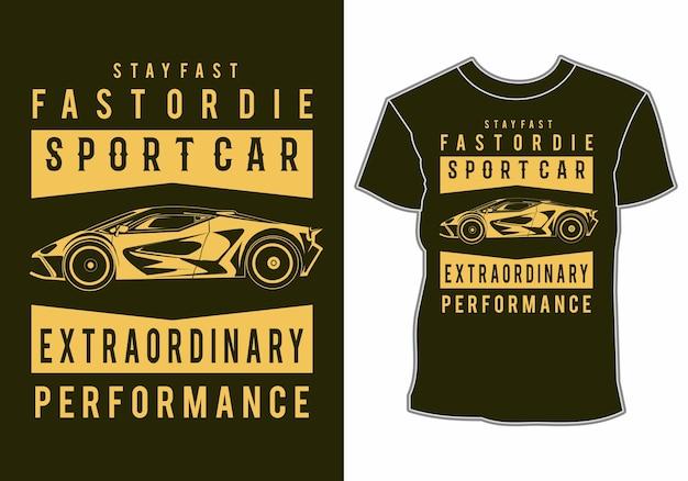 Дизайн футболки современного роскошного спортивного автомобиля