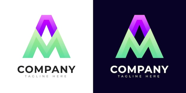 Modern a ma and am initial letter logo design