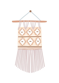 Modern macrame flat vector illustration. beautiful handmade decoration isolated on white background. contemporary stylish handicraft item. bohemian style, wall hanging knot craft decor.