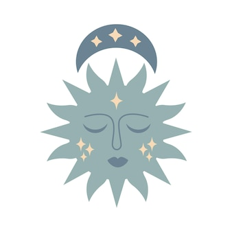 Modern magic boho sun with moon, stars, face in silhouette  isolated on white background. vector flat illustration. decorative boho celestial element for tattoo, greeting cards, invitations, wedding
