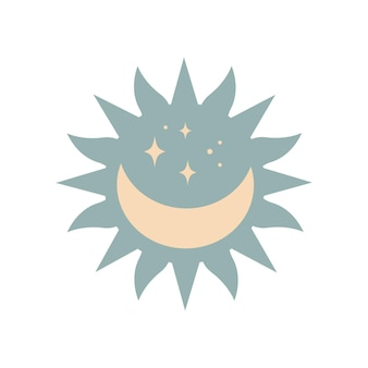 Modern magic boho sun with moon, stars in silhouette  isolated on white background. vector flat illustration. decorative boho celestial element for tattoo, greeting cards, invitations, wedding