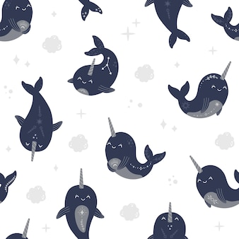 Modern magic whale seamless pattern, cute witchcraft and mystical celestial baby narwhals. astrology sea animals with star in boho style, moon and constellation repeat trendy kids vector illustration
