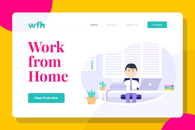 Modern man employee work from home illustration landing page, web banners, suitable for diagrams, infographics, book illustration, game asset, and other graphic assets
