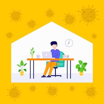現代の男性従業員が在宅で働くイラストコロナウイルス2019 ncov、webバナー、図、インフォグラフィック、ブックイラスト、ゲームアセット、その他のグラフィックアセットに適しています