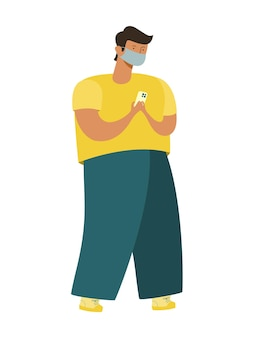 現代人は、医療用マスクにスマートフォンを持って立っています。肥大したキャラクター、大きな脚、小さな頭。