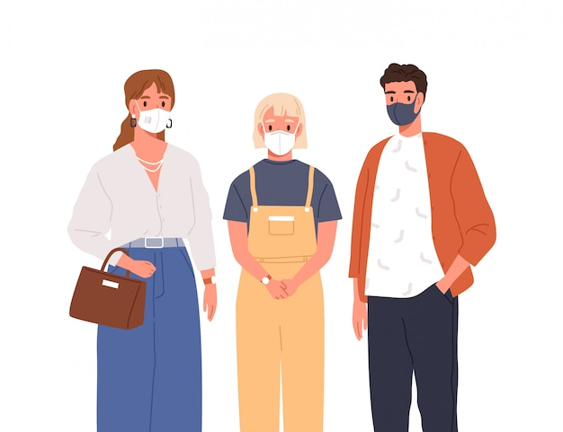 Modern man, woman and teen girl in protective mask on face vector flat illustration. group of people wearing respirators isolated on white. healthcare and coronavirus outbreak prevention