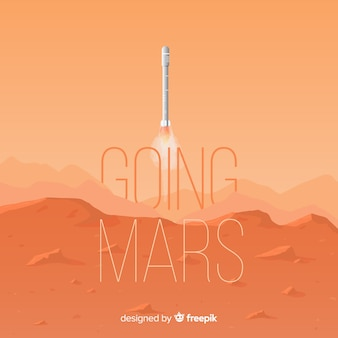Modern mars background with flat design