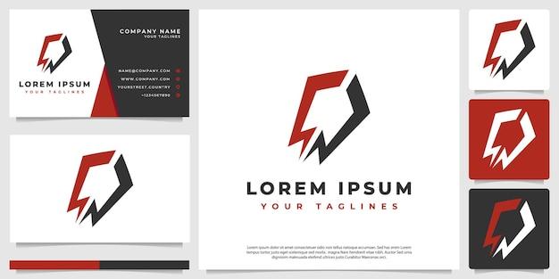 A modern, masculine minimalist rocket logo