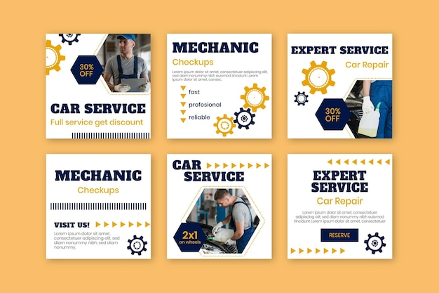 Modern mechanic instagram post templates