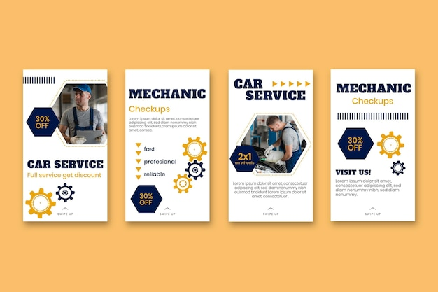 Modern mechanic instagram story templates