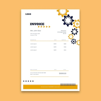 Modern mechanic invoice template Free Vector