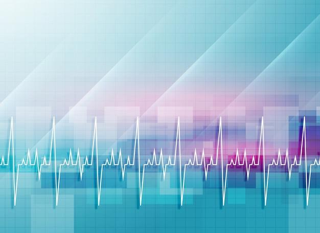 Абстрактный медицинский фон с сердцебиение Premium векторы