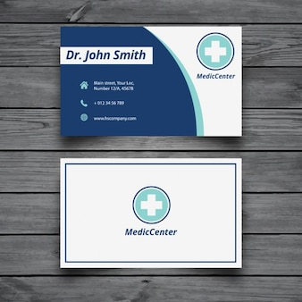 Modern medical business card template Free Vector