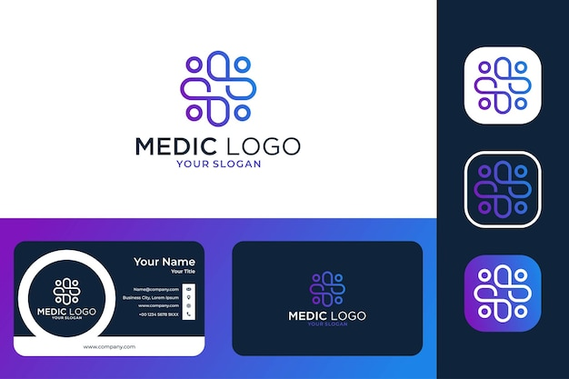 Modern medical care line art logo design and business card
