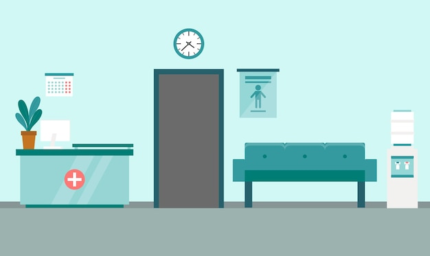 Интерьер приемной современной медицинской клиники с мебелью