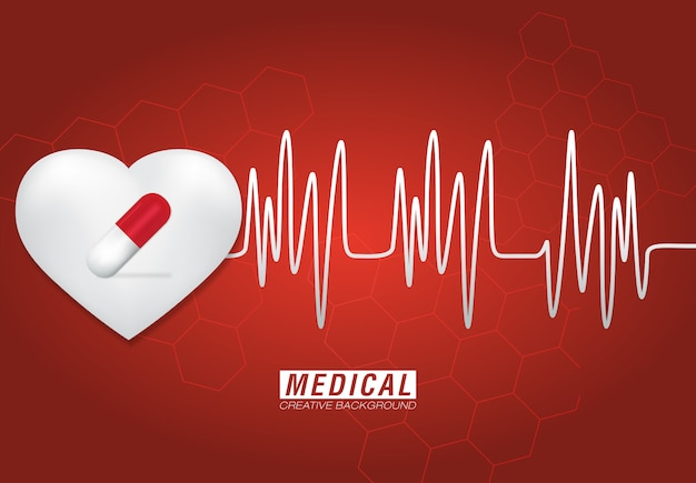 Modern medical heart and medicine background