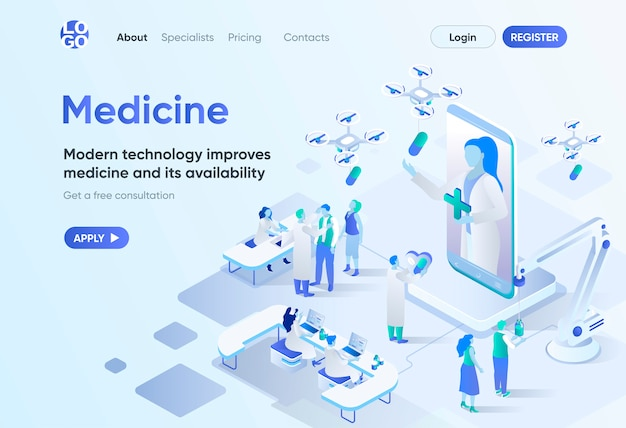 Modern medicine isometric landing page. digital technologies in medical diagnosis and treatment. online doctor consultation template for cms and website builder. isometry scene with people characters.