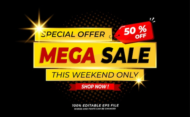 Modern  mega sale banner or background