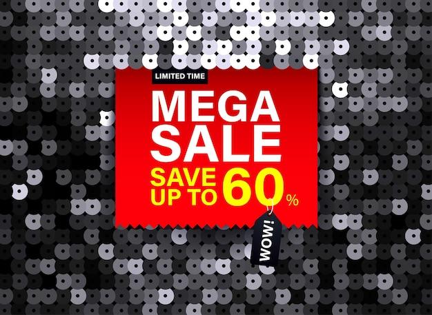 특별 판매 및 할인을 위한 검은색 스팽글 패브릭 효과가 있는 현대적인 메가 판매 배너