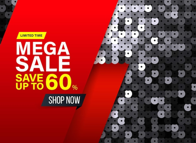 Modern mega sale banner with black sequin fabric effect for special offers sales and discounts